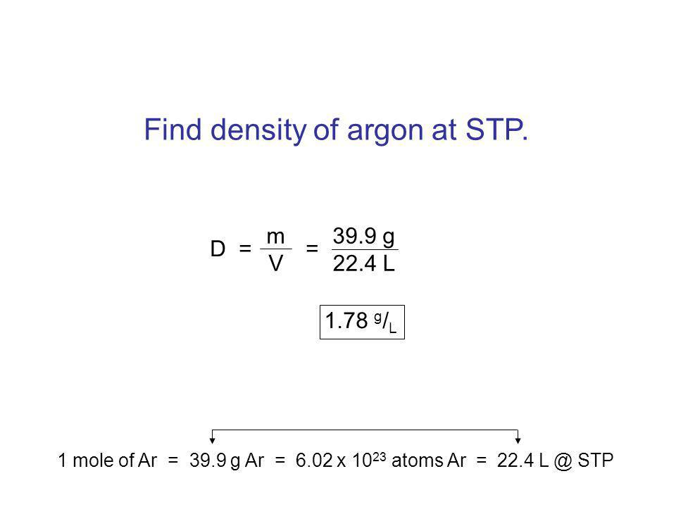 Find density of argon at STP.