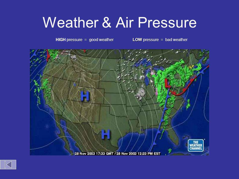 Weather & Air Pressure HIGH pressure = good weather