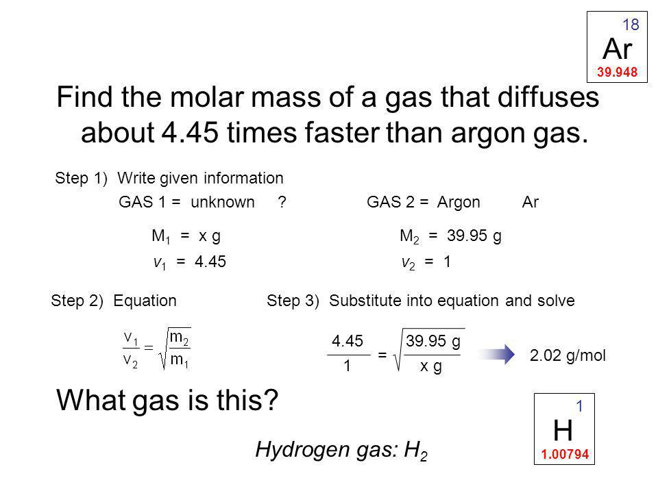 Ar 39.948. 18. Find the molar mass of a gas that diffuses about 4.45 times faster than argon gas.