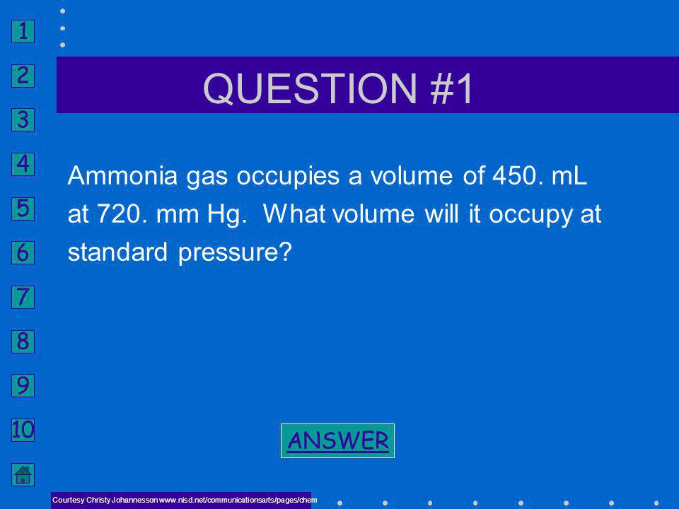 QUESTION #1 Ammonia gas occupies a volume of 450. mL