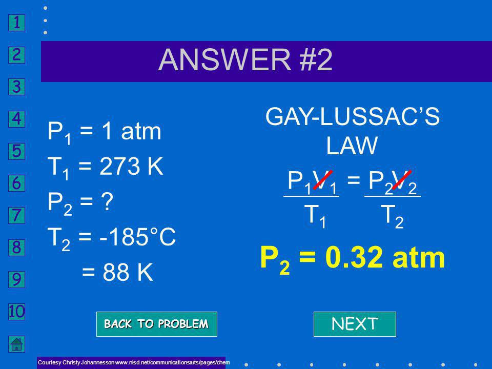 ANSWER #2 P2 = 0.32 atm GAY-LUSSAC'S LAW P1 = 1 atm T1 = 273 K P2 =