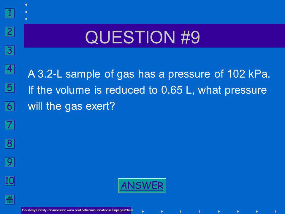 QUESTION #9 A 3.2-L sample of gas has a pressure of 102 kPa.