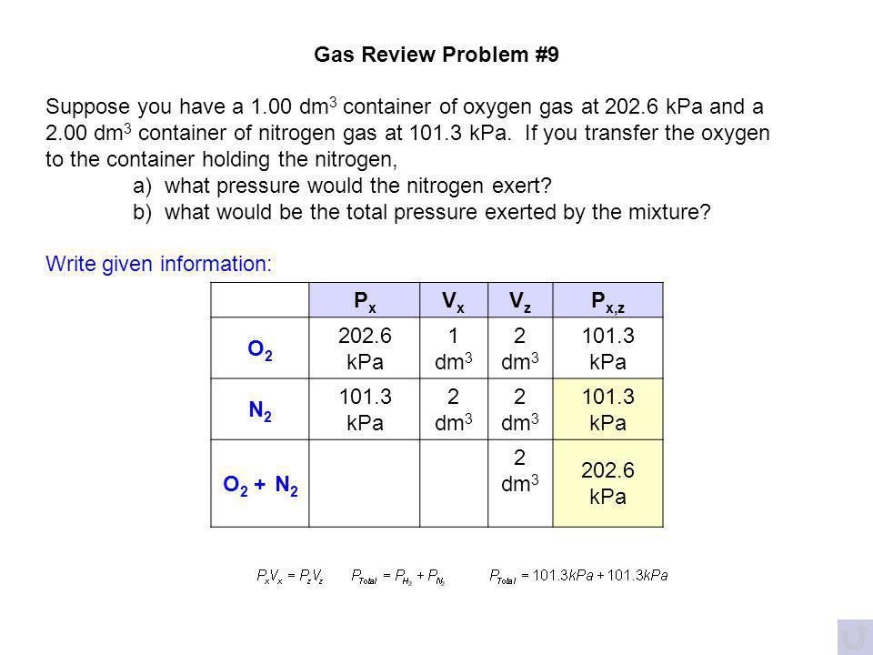 Gas Review Problem #9 Suppose you have a 1.00 dm3 container of oxygen gas at 202.6 kPa and a.