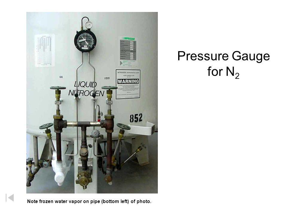 Pressure Gauge for N2 Note frozen water vapor on pipe (bottom left) of photo.