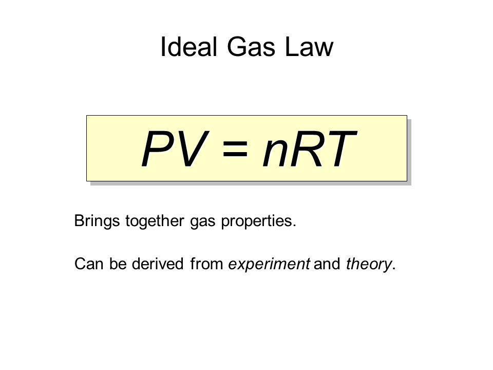 PV = nRT Ideal Gas Law Brings together gas properties.