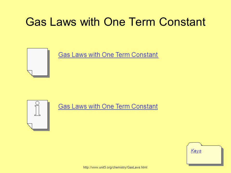 Gas Laws with One Term Constant