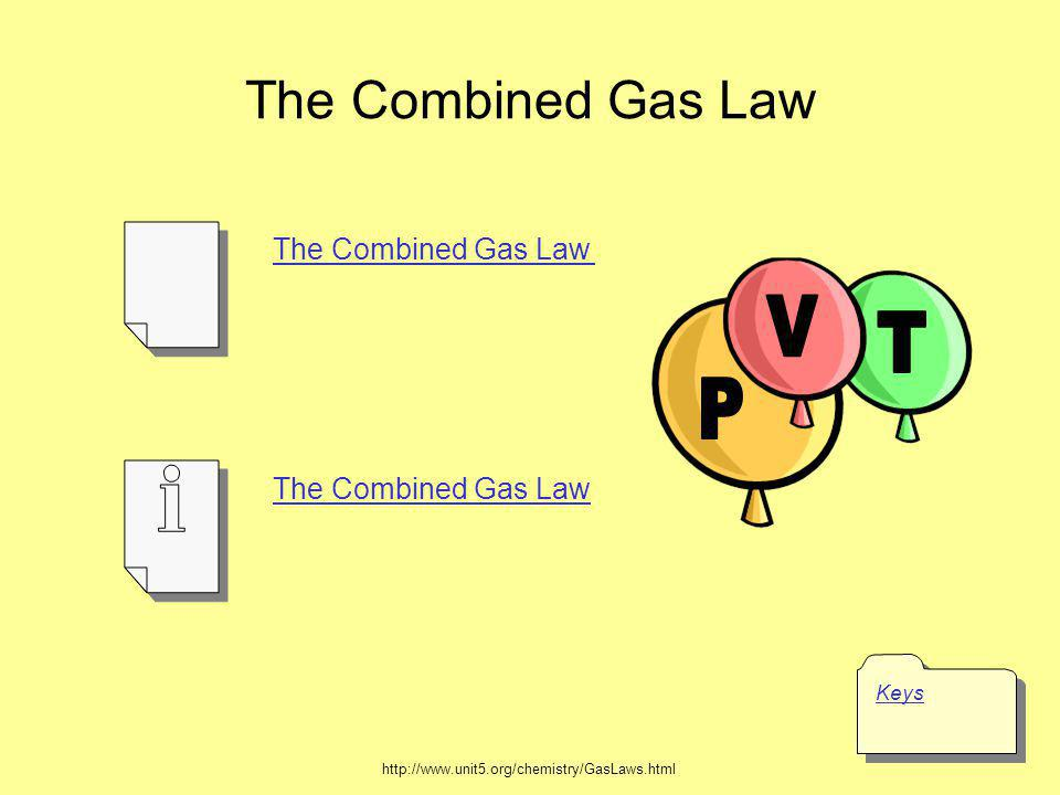 The Combined Gas Law V T P Keys The Combined Gas Law