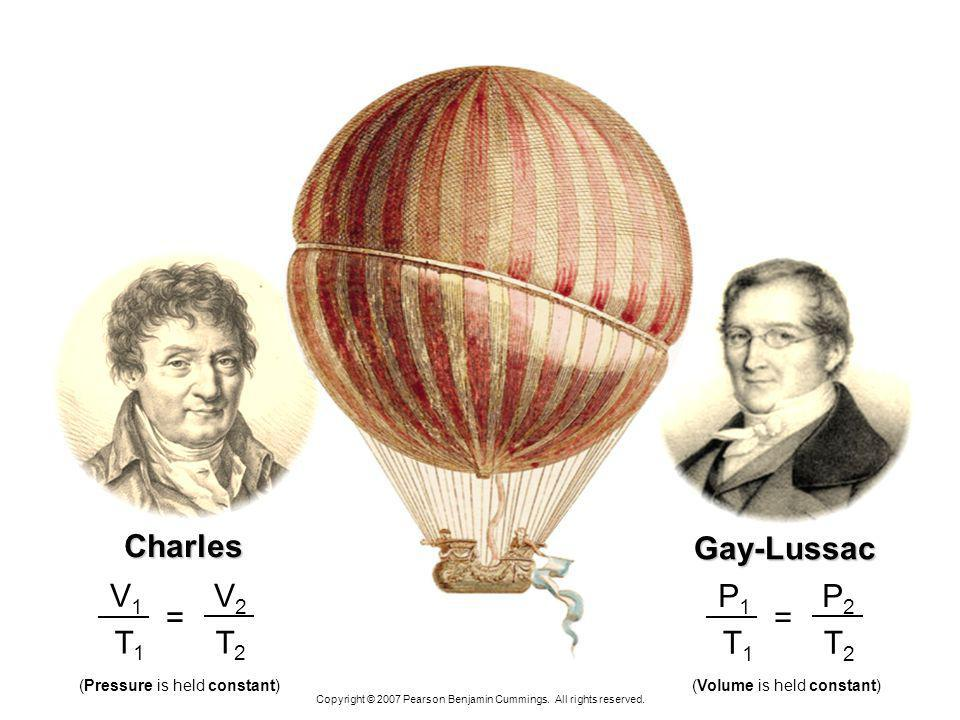 Charles Gay-Lussac T1 T2 V1 V2 = T1 T2 P1 P2 =