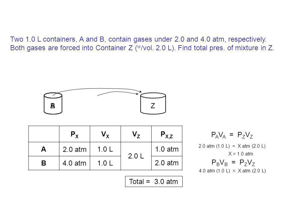 Two 1. 0 L containers, A and B, contain gases under 2. 0 and 4