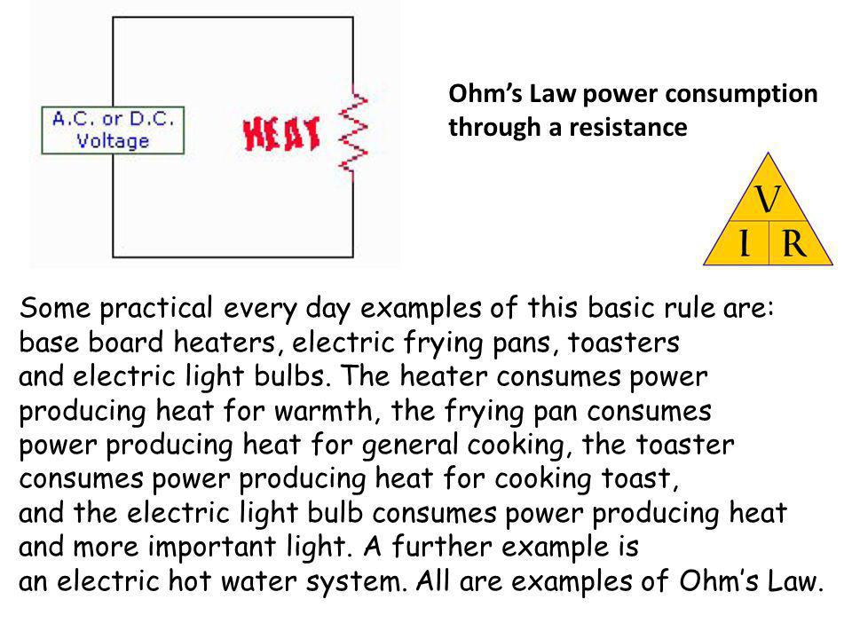 Ohm's Law power consumption through a resistance