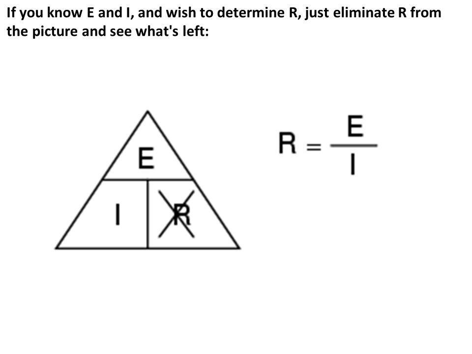 If you know E and I, and wish to determine R, just eliminate R from the picture and see what s left: