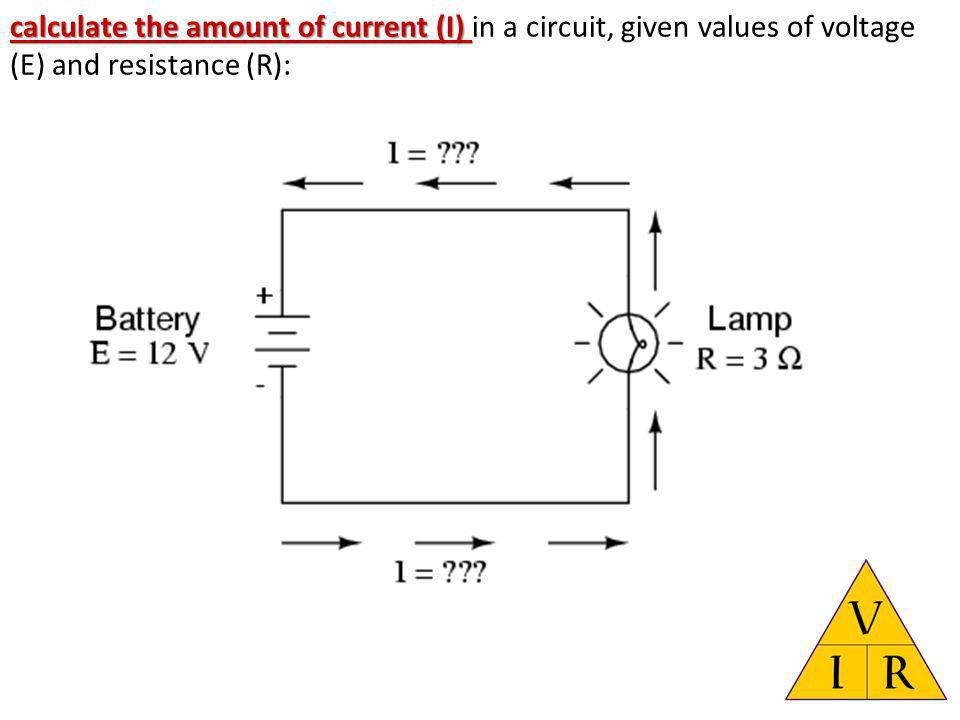 calculate the amount of current (I) in a circuit, given values of voltage (E) and resistance (R):