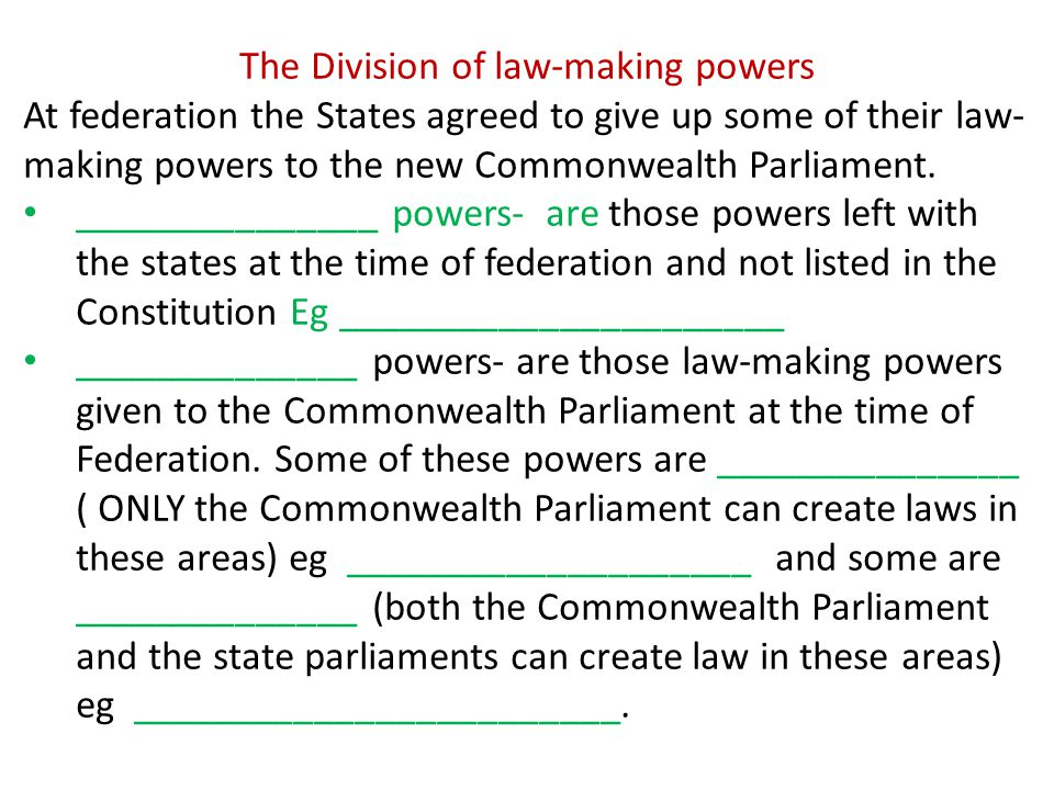 The Division of law-making powers