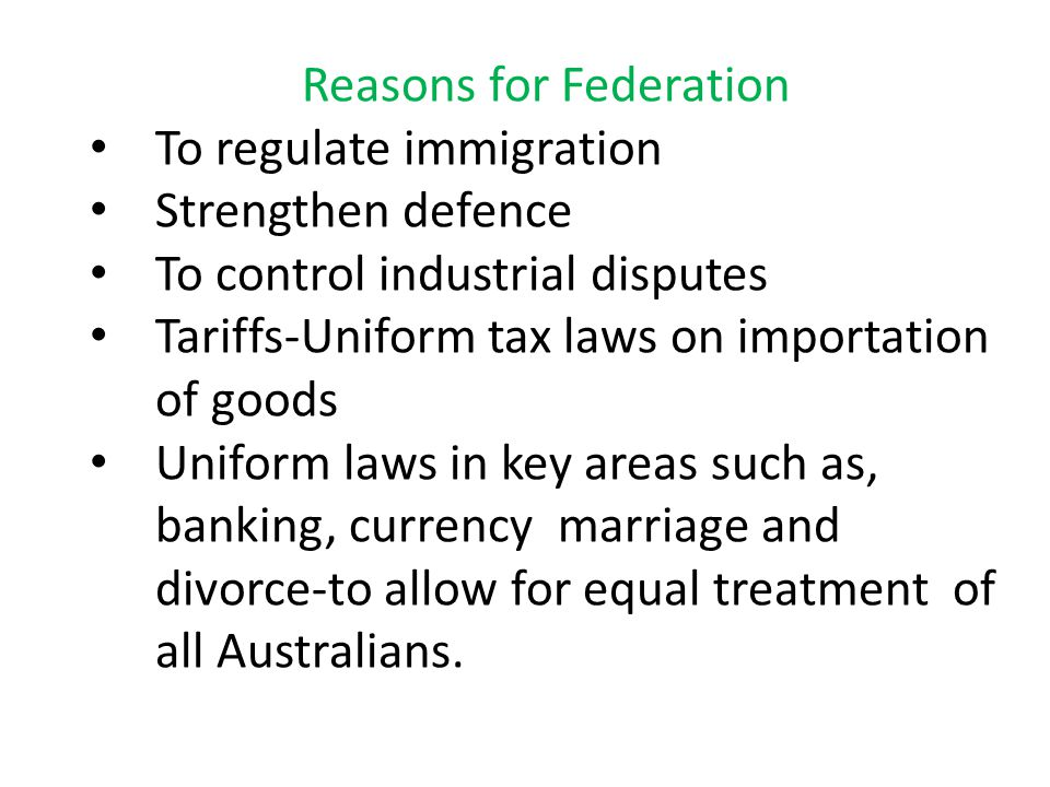 Reasons for Federation