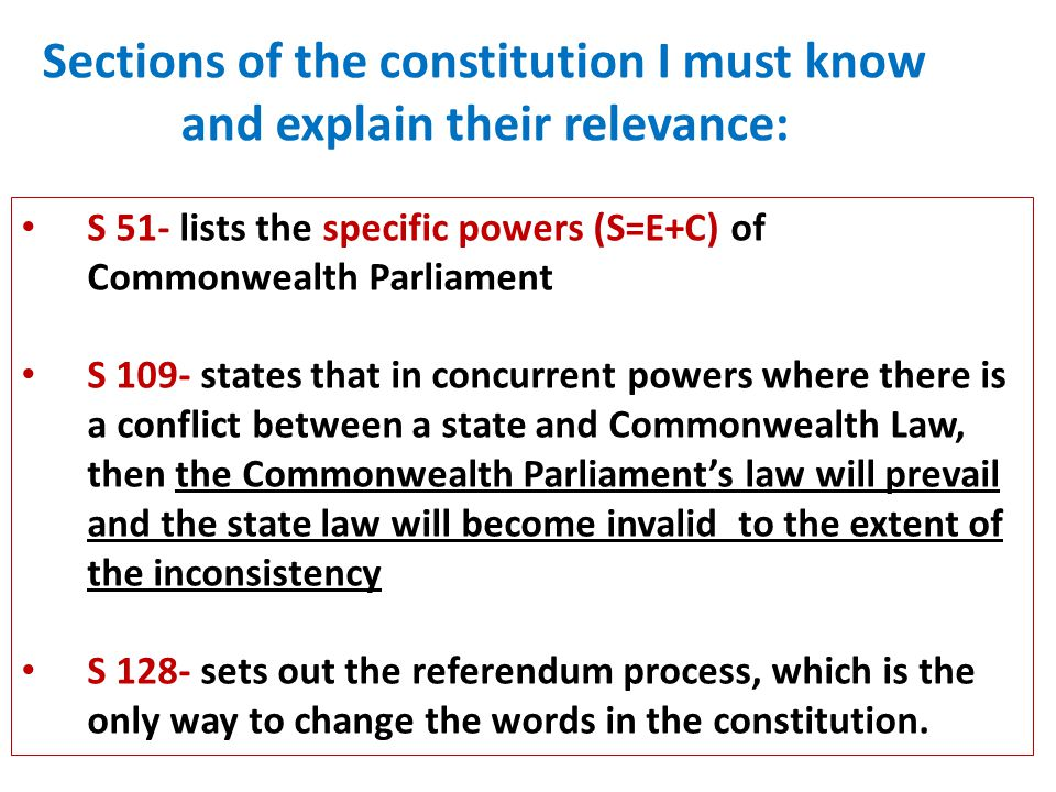 Sections of the constitution I must know and explain their relevance: