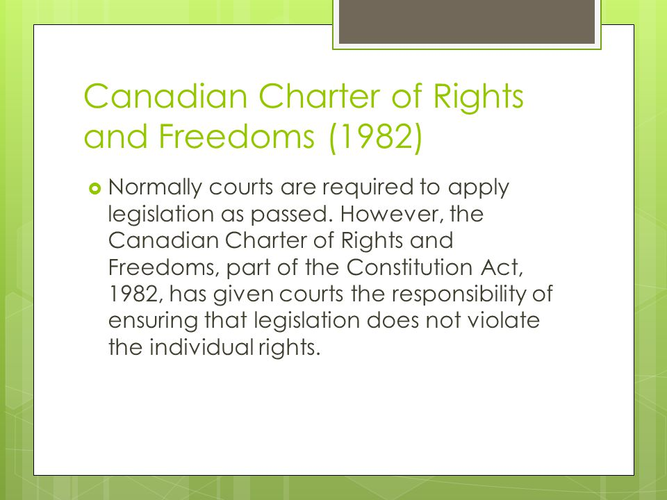 Canadian Charter of Rights and Freedoms (1982)