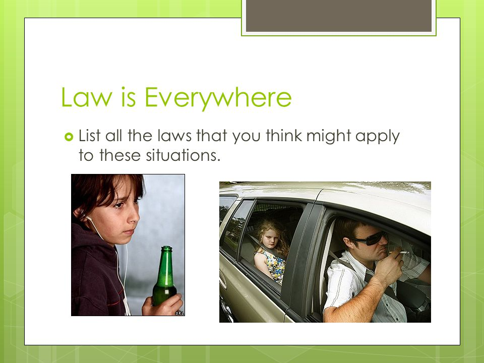 Law is Everywhere List all the laws that you think might apply to these situations.