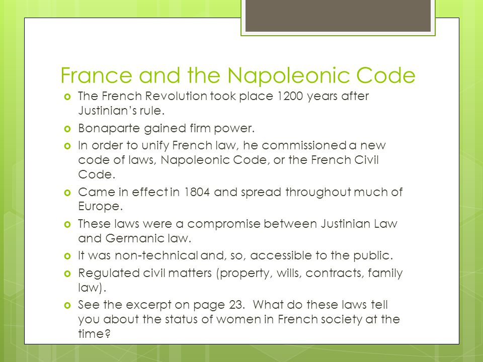 France and the Napoleonic Code