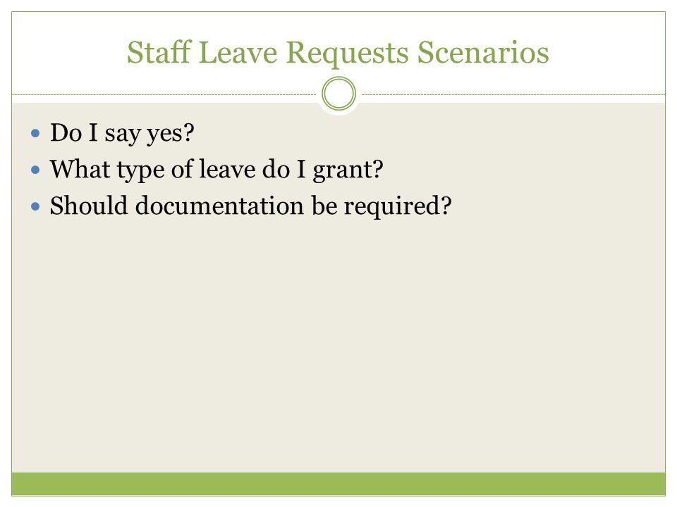 Staff Leave Requests Scenarios