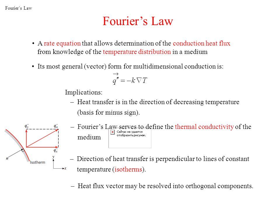 Fourier's Law Fourier's Law. A rate equation that allows determination of the conduction heat flux.