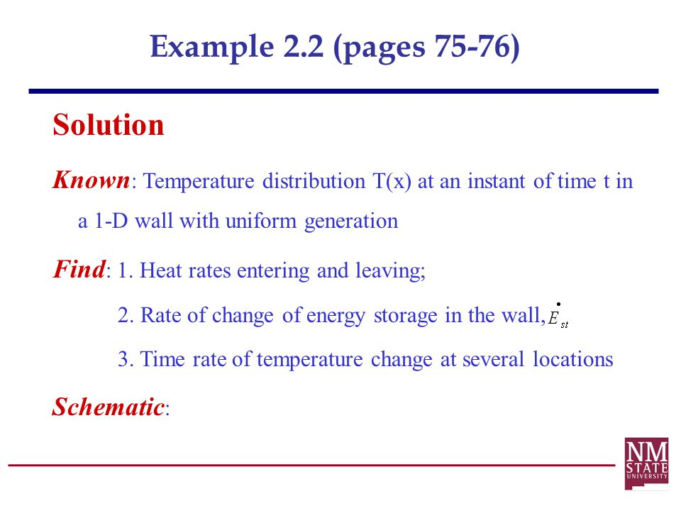 Example 2.2 (pages 75-76) Solution