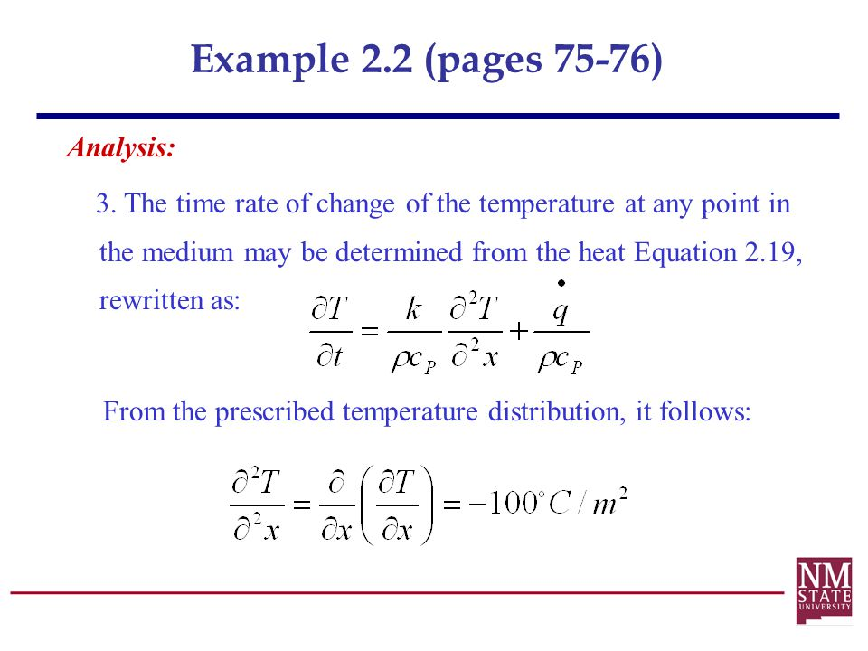 Example 2.2 (pages 75-76) Analysis:
