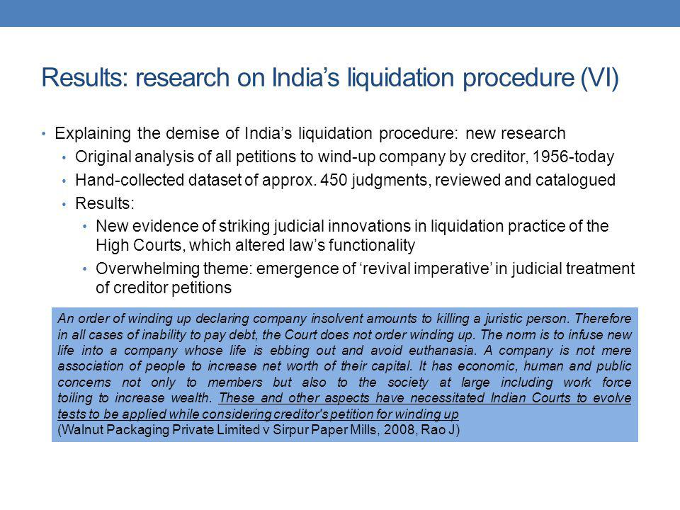 Results: research on India's liquidation procedure (VI)