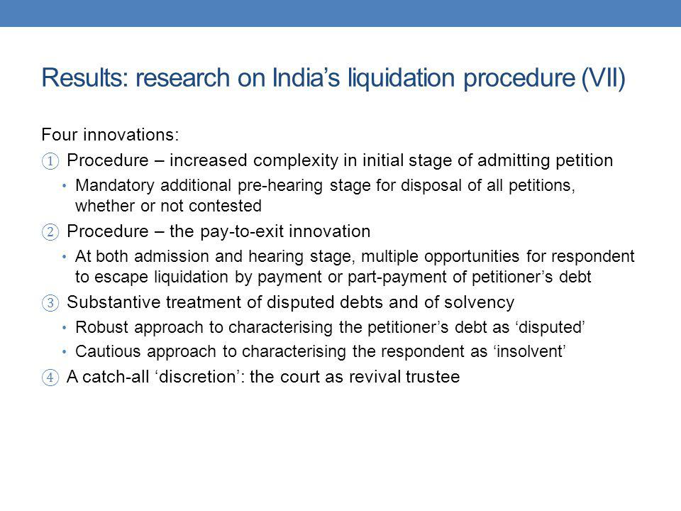 Results: research on India's liquidation procedure (VII)
