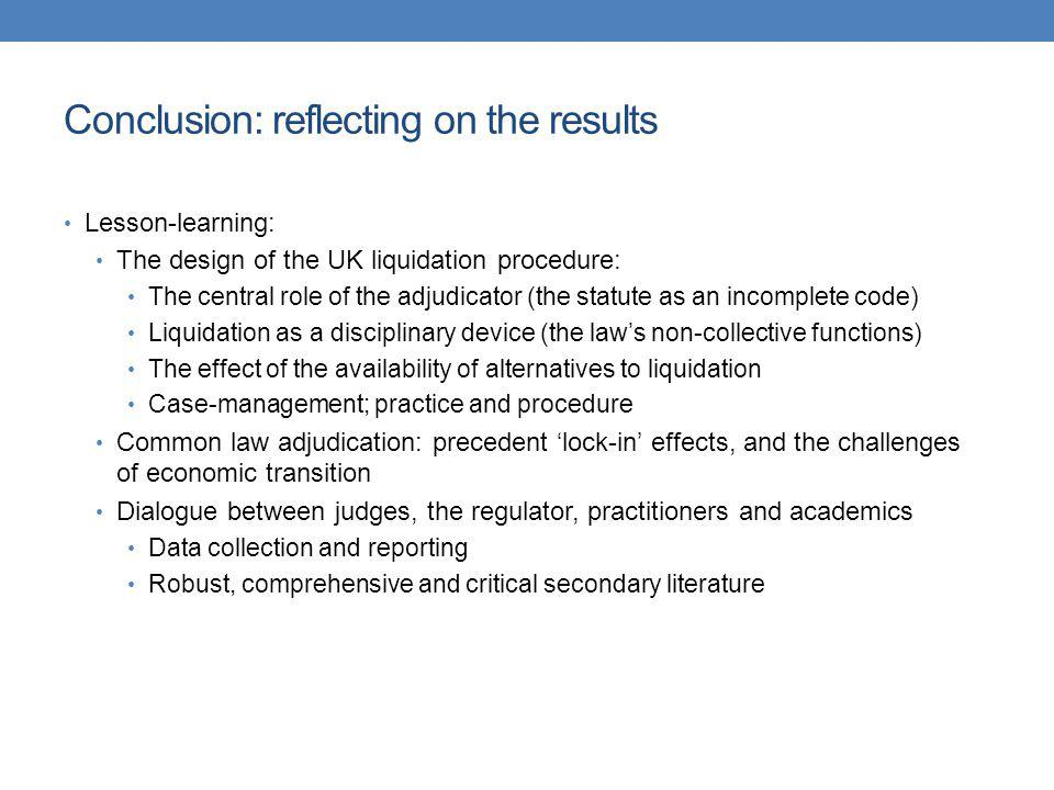 Conclusion: reflecting on the results
