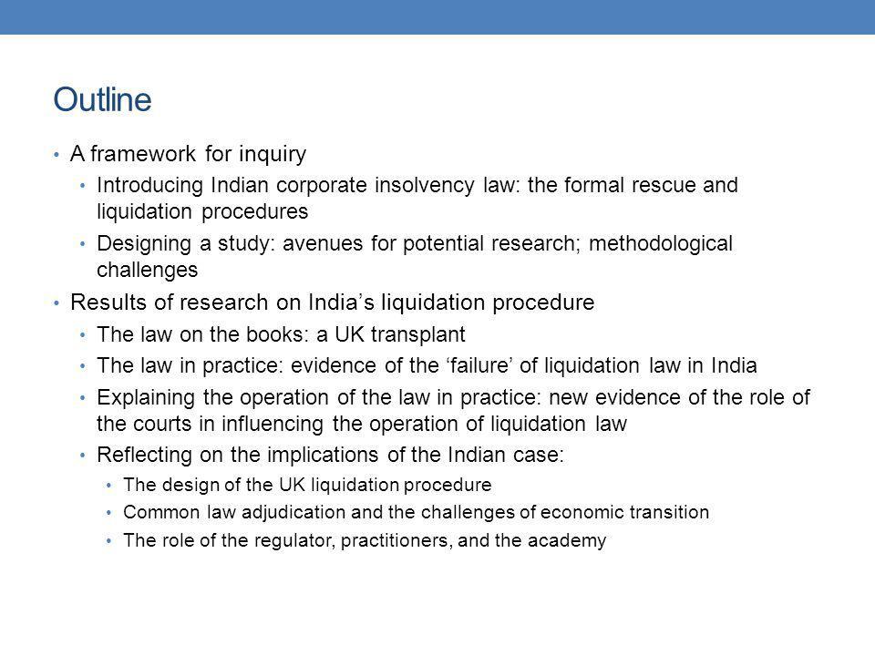 Outline A framework for inquiry