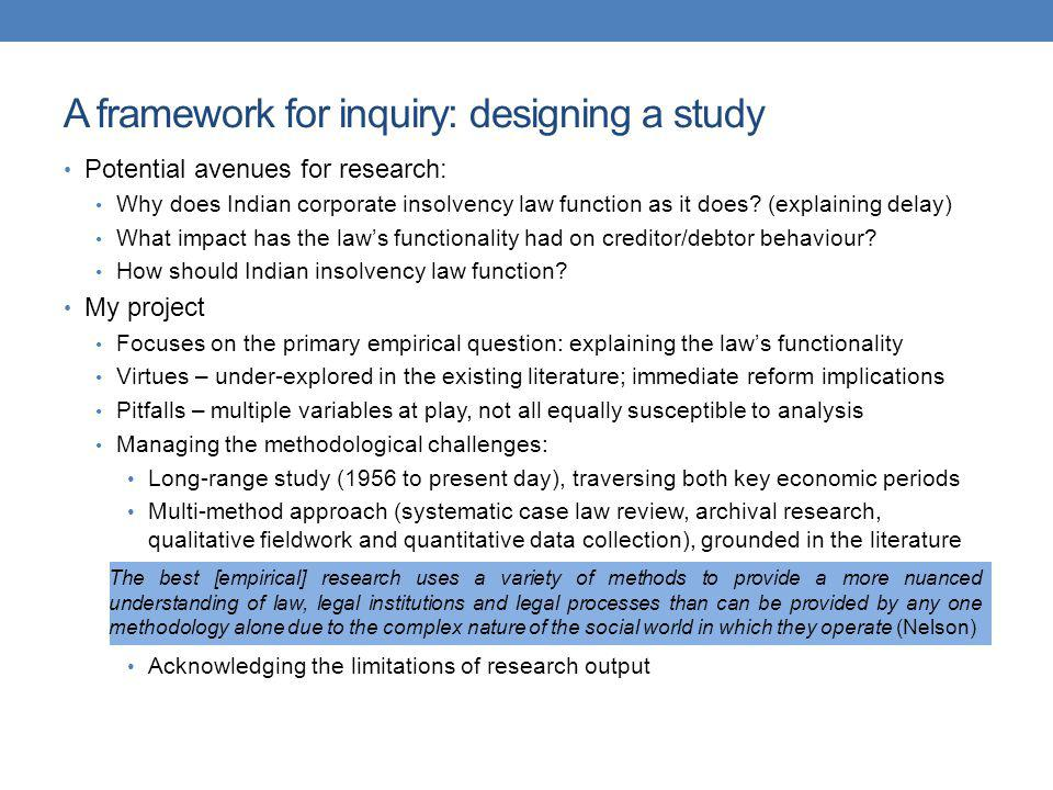 A framework for inquiry: designing a study