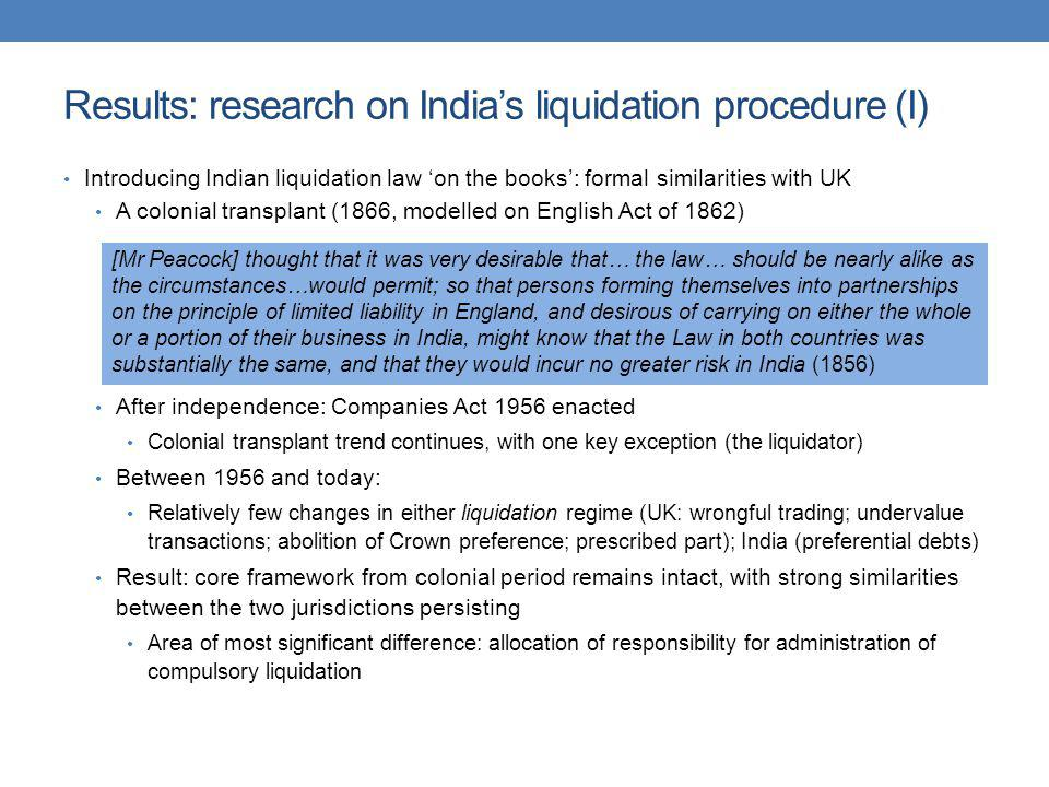 Results: research on India's liquidation procedure (I)