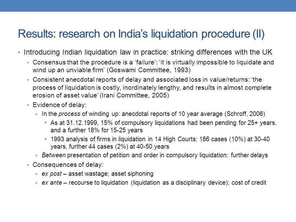 Results: research on India's liquidation procedure (II)