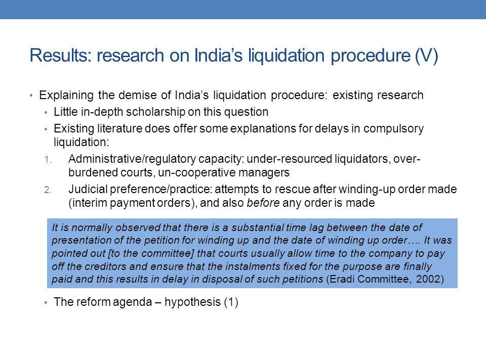 Results: research on India's liquidation procedure (V)
