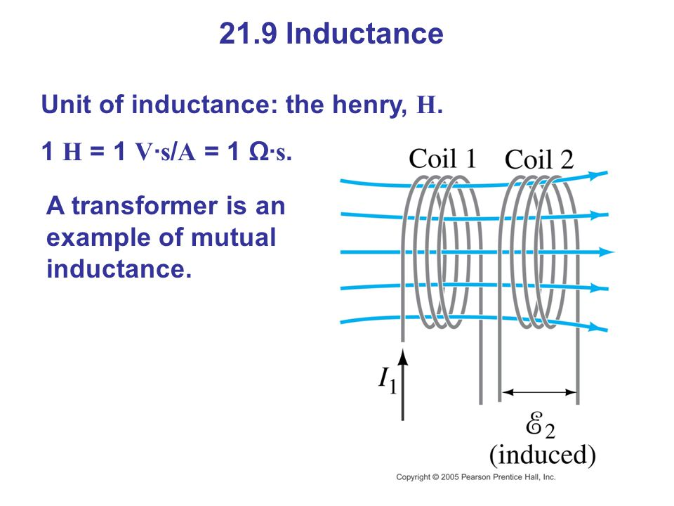 21.9 Inductance Unit of inductance: the henry, H.