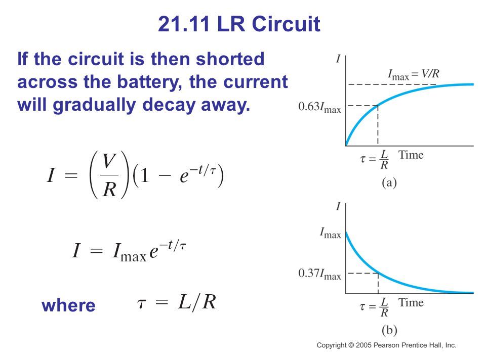 21.11 LR Circuit If the circuit is then shorted across the battery, the current will gradually decay away.