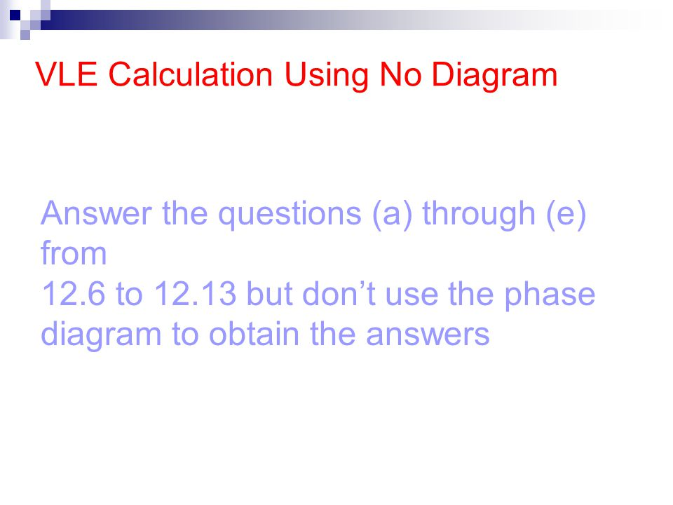 VLE Calculation Using No Diagram