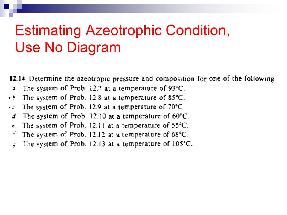 Estimating Azeotrophic Condition, Use No Diagram