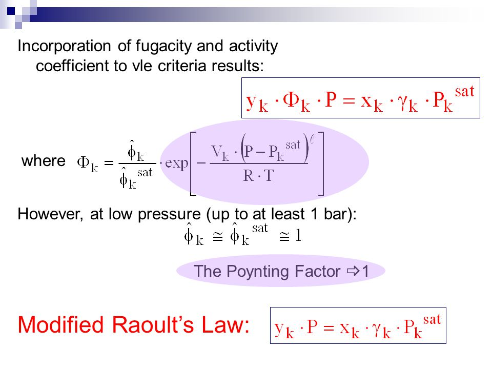 Modified Raoult's Law: