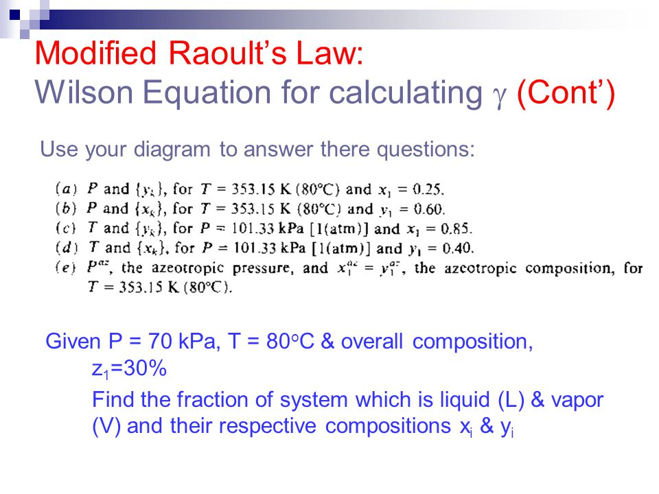 Modified Raoult's Law: Wilson Equation for calculating  (Cont')