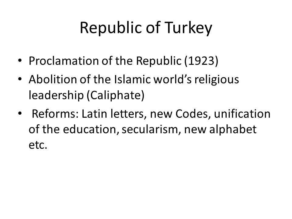 Republic of Turkey Proclamation of the Republic (1923)