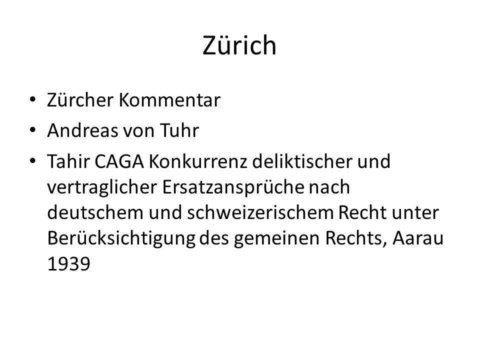 Zürich Zürcher Kommentar Andreas von Tuhr