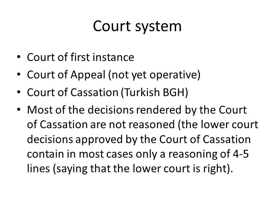 Court system Court of first instance