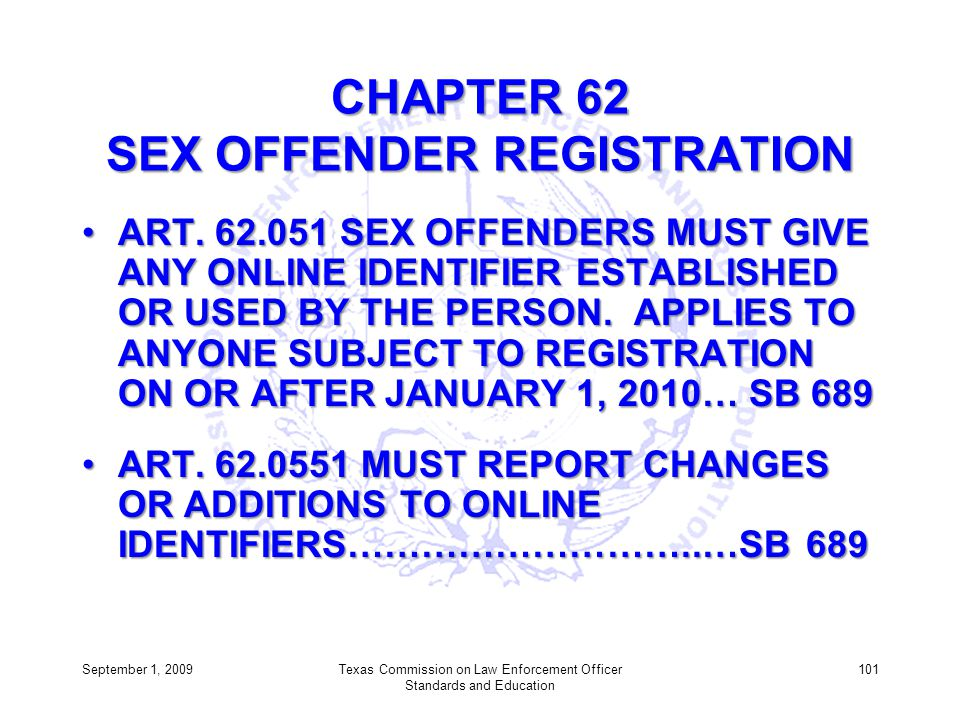 CHAPTER 62 SEX OFFENDER REGISTRATION