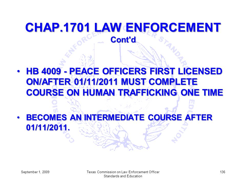 CHAP.1701 LAW ENFORCEMENT Cont d