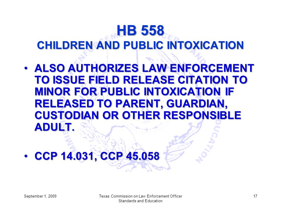 HB 558 CHILDREN AND PUBLIC INTOXICATION