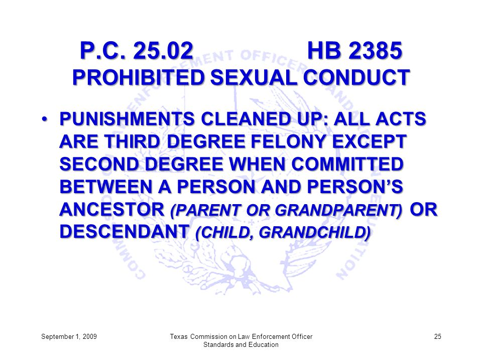 P.C. 25.02 HB 2385 PROHIBITED SEXUAL CONDUCT