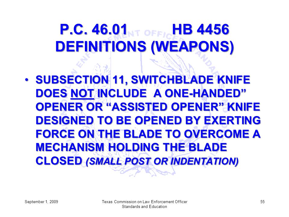 P.C. 46.01 HB 4456 DEFINITIONS (WEAPONS)