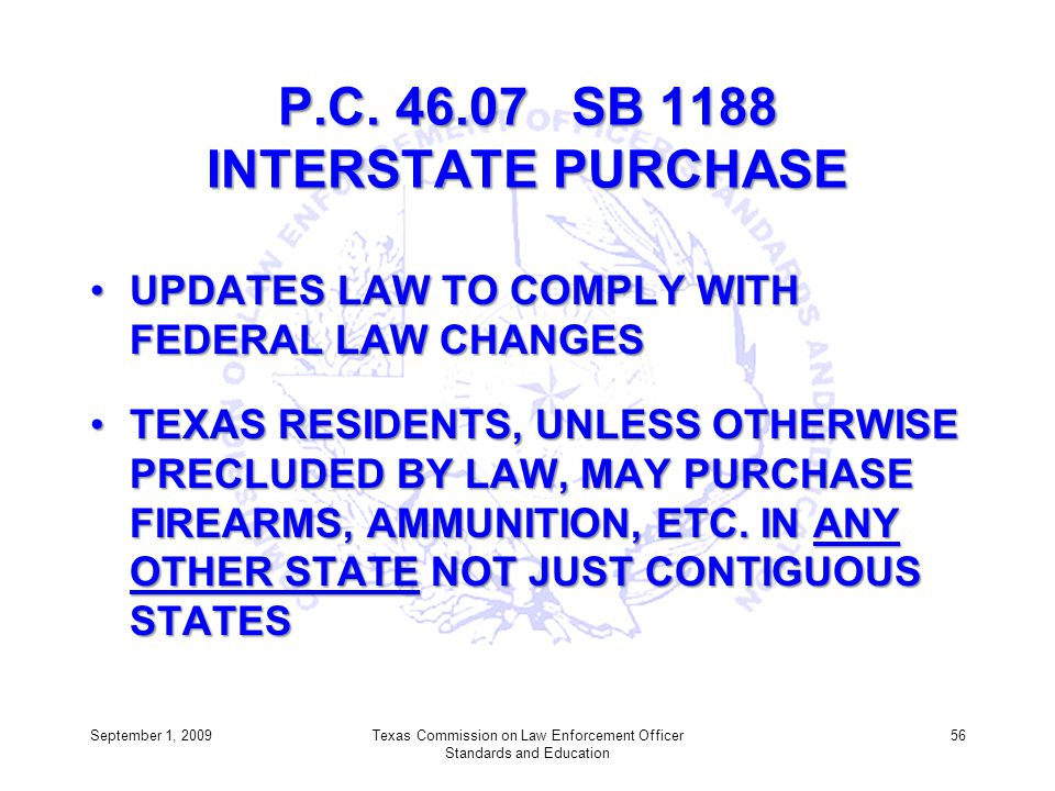 P.C. 46.07 SB 1188 INTERSTATE PURCHASE