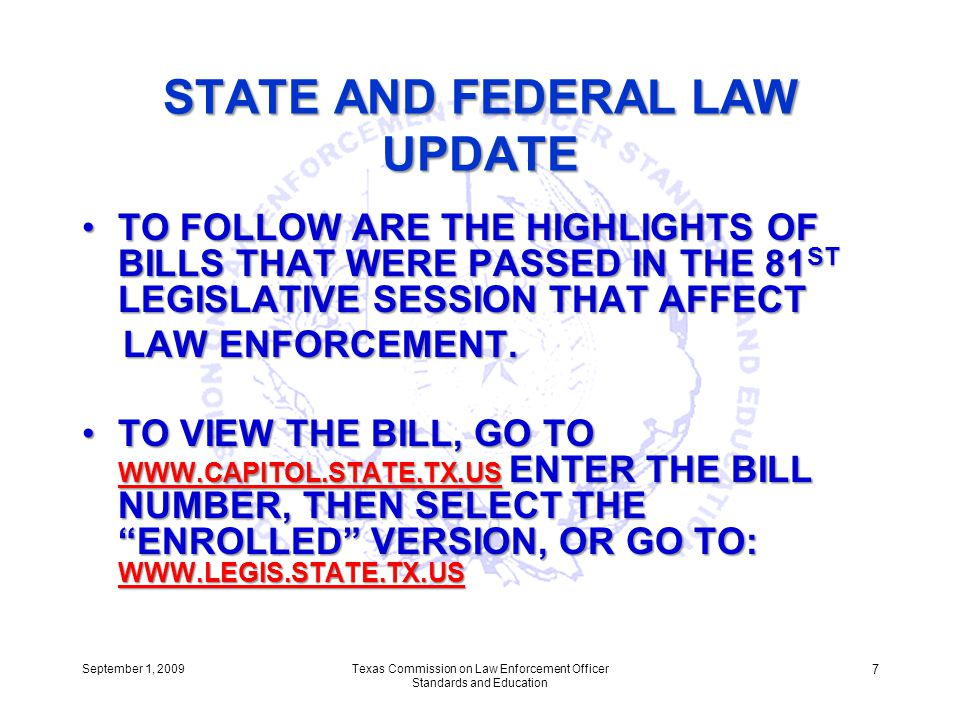 STATE AND FEDERAL LAW UPDATE